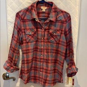 Plaid button down snap shirt
